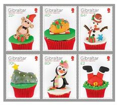 Christmas cupcakes appeared on new festive stamps. Six special item released by Gibraltar Post (A British Overseas Territory).