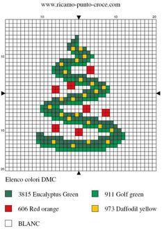 disegno punto croce albero di natale