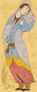 Woman With a Veil, album folio attributed to Riza-i 'Abbasi, circa 1590-95.
