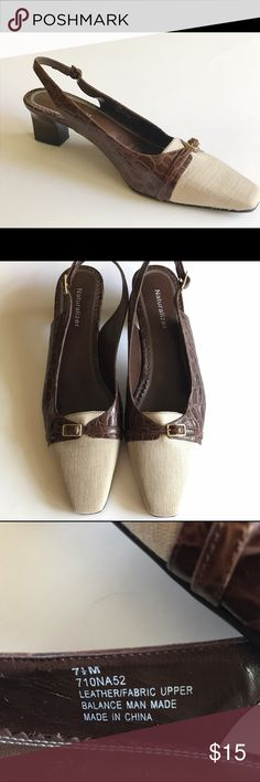 """Naturalizer Shoes Brown  Sling backs Size 7 1/2M Naturalizer Women's Slingback Brown Leather/ Beige Fabric 2"""" Heel Size 7 1/2M Leather upper and fabric/ balance man made Brown faux snake pattern Pointed / square toe Straps with adjustable buckle closures Non Slip soles for stability 2"""" heel Cushion insoles Approximately 10"""" measured from heel to toe Width 3"""" Please measure one of your comfortable shoes with measurements to insure proper fit Worn once at home - No sign of wear Naturalizer…"""