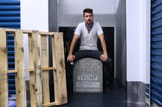 Brian Whiteley and his Legacy Stone at storage centre in Queens (Photo Credit: Emily McDermott/ArtNews)