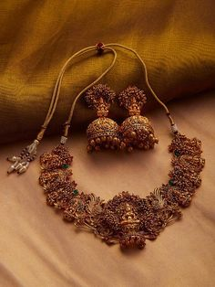 Gold Plated South Indian Lakshmi Temple Jewelry Necklace Set/ Gold plated Temple work Choker and Jhumka Earrings Set - Beautiful Jewelry Indian Jewelry Earrings, Indian Jewelry Sets, Jewelry Design Earrings, Indian Wedding Jewelry, Gold Jewellery Design, Temple Jewellery, Bridal Jewelry Sets, Gold Jewelry, Best Jewelry