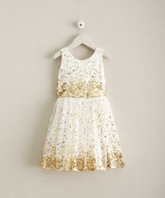 Girls Constellation Dress - exclusively ours - A sparkly party in a dress! Gold dots rain down on sheer mesh over a comfy stretch-knit lining.