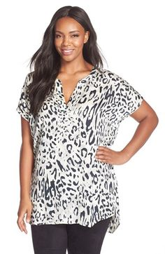 MELISSA MCCARTHY SEVEN7 Print Georgette Split Neck Tunic (Plus Size) available at #Nordstrom
