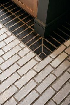 New Home Ideas Budget Remodeling Ideas: Black + White Tile Patterns Brick Tiles, Brick Flooring, Kitchen Flooring, Flooring Ideas, Floors, Kitchen Tile, Bathroom Flooring, Laminate Flooring, Kitchen Design