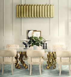 AURUM Suspension Light, KOI Dining Table, ZULU Dining Chairs and WARAO Rug by @brabbu | Dining Room Ideas. Dining Room Design. #diningroomdecor #diningroomtable #interiordesign Discover the collection: https://www.brabbu.com/en/all-products.php