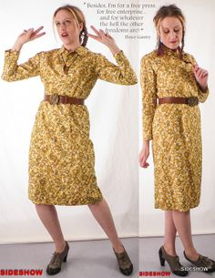 VTG 60s 1960s Hand Made Yellow Floral DAY DRESS // by sideshowsam, $36.00