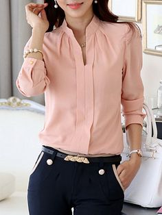 Split Neck Plain Chiffon Long Sleeve Blouse - Look Shop Blouse Styles, Blouse Designs, Business Casual Outfits, Business Attire, Blouse Online, Mode Style, Shirt Blouses, Blouses For Women, Fashion Outfits
