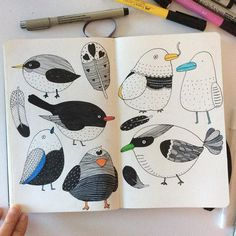 Birds cozy and quite Saturday afternoon#bird #sketchbook #moleskine #doodle…