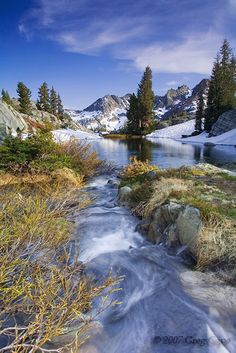 Minaret Lake at its outlet in Ansel Adams Wilderness in the High Sierra of California by Greg Cope