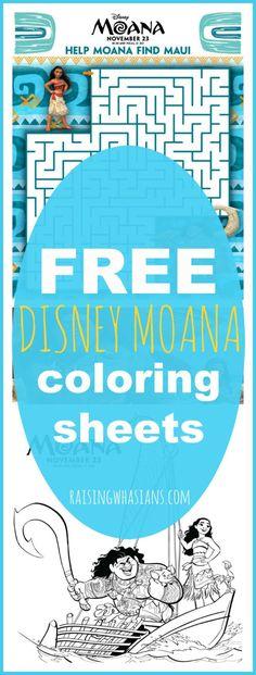 FREE Moana Coloring Sheets + Kids Activities #Moana - RaisingWhasians.com | 17 pages of FREE printable Disney Moana kids activities and coloring pages