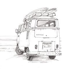 One of my favorite things to do. Beautiful drawing of a VW Bus carrying boards to the beach. simple but beautiful