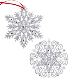 Holiday Lane Set of 2 Snowflake Ornaments