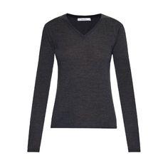 Max Mara Figlio sweater (13.795 RUB) ❤ liked on Polyvore featuring tops, sweaters, dark grey, maxmara, v-neck tops, dark grey sweater, v neck sweater and lightweight sweaters