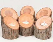 Candle Holder Pair- Rustic Tree Branch Natural Wood Tea Light Holders. $14.00, via Etsy.