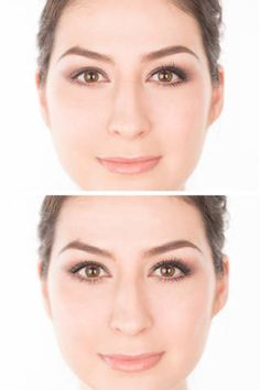 Here, another display of the before-and-after effects of this baby powder hack. In the top image, the completely dressed lashes are compared next to naked fringe. And in the bottom, they're contrasted against lashes that have been coated with mascara only and have not been given the baby powder treatment.