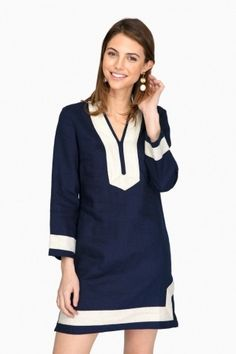 ad04c445bd Sail to Sable Navy and Gold Classic Long Sleeve Tunic Dress