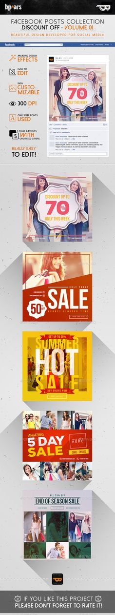 5 Facebook Banners Posts   Discount Sales Template #design #ads Download: http://graphicriver.net/item/5-facebook-banners-posts-discount-sales/12743832?ref=ksioks