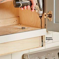 How to Build an Under-Cabinet Drawer (DIY) | Family Handyman Kitchen Cabinet Remodel, Diy Kitchen Cabinets, Kitchen Cabinet Organization, Wood Cabinets, Kitchen Ideas, Kitchen Remodeling, Kitchen Updates, Cabinet Storage, Kitchen Cupboard