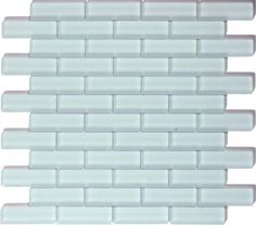 The Crystile series 1 x 3 glass mosaic tile color ice mist matte C02-2.  Perfect match to the 3 x 6 and 4 x 12 glass subway tiles.