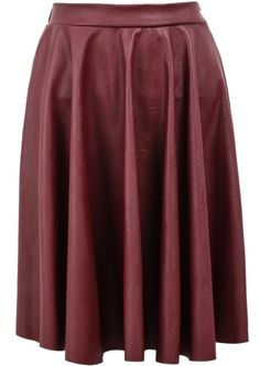 Red Elastic Waist Pleated Leather Skirt pictures