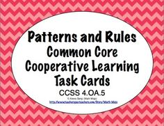 Common Core Math Task Cards - Identifying Patterns and Rules CCSS Math Enrichment, Math Activities, Educational Activities, Math Patterns, Number Patterns, Shape Patterns, Cooperative Learning, Kids Learning, Math Classroom