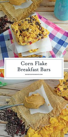 Corn Flake Breakfast Bars are a handheld breakfast bar made from corn flakes, dried cranberries, slivered almonds, peanut butter, mini chocolate chips and marshmallows. Breakfast Bars, Sweet Breakfast, Breakfast For Kids, Christmas Breakfast, Breakfast Recipes, Christmas Brunch, Peanut Butter Cornflakes, Peanut Butter Desserts, Cranberry Bars
