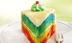 so yummy cake with delicious coconut buttercream: Rainbow Cake - Cynthia Barcomi Cheesecakes, Food N, Food And Drink, Coconut Buttercream, Rainbow Food, Sweet Cakes, Dessert Recipes, Desserts, Yummy Cakes