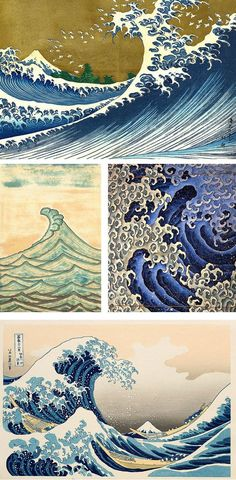 Waves are very common in the style of Japanese tattoos. I could use this to help me create the effect of waves when designing my own tattoos. No Wave, Japanese Waves, Japanese Prints, Japanese Style, Tribal Turtle Tattoos, Hip Tattoo Designs, Art Asiatique, Art Japonais, Wave Art