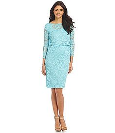 Leslie Fay Blouson Lace Dress #Dillards