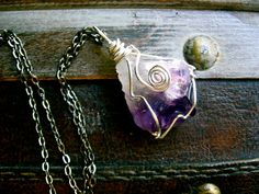 Raw Natural Powerful Amethyst Necklace by EireCrescent on Etsy, $16.99