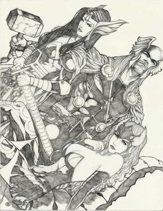 Thor, Lady Sif, and Enchantress by Ace Continuado *