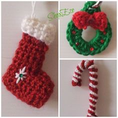 Crochet Christmas tree ornaments - stockings, wreath and candy cane
