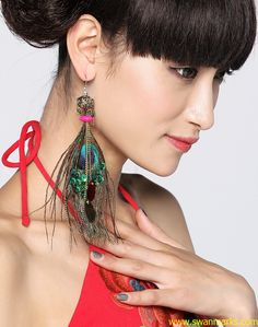 #Swanmarks Liebo New 2012 Peacock Feather Carving Brass Bead Earring3