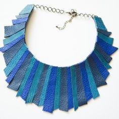SASHaccessories_colier piele albastru (genuine leather necklace) Leather Necklace, Tassel Necklace, Necklaces, Handmade Accessories, Fashion Ideas, Crafts, Craft Ideas, Jewelry, Design