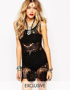 Image 1 ofRat & Boa Crochet Lace Up Shoulder Dress