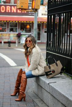 Faux fur coat and OTK 3.1 Phillip Lim boots #fashion #style #NYC