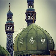 Dome and minarets of Jamkaran Mosque in Qom, Iran