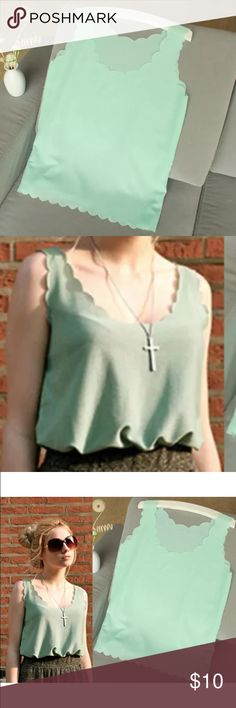 Mint Green Scalloped Chiffon Blouse Super cute and light chiffon tank in a to-die-for mint green with scalloped edging by ROYAL POODLE CLOTHING  Layer with a sweater or blazer and it's great for any time of year!Brand new, never worn, clean/smoke-free environment. Size = Small Bundle any of my items and save! CHECK OUT MY PAGE ^_^ nwt American Apparel, Nasty Gal, Current/Elliott, Victoria's Secret, Free People, Betsey Johnson, XXI, tulle skirts, SWIMWEAR, makeup!!! Royal Poodle Clothing Tops…