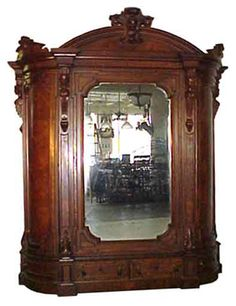 Antique Victorian Armoire with Beveled Mirror #5074  #Victorian