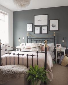 Neat Bedroom decor idea with metal bed frame with grey feature wall and dusky pink accents. The post Bedroom decor idea with metal bed frame with grey feature wall and dusky pink accents. appeared first on Interior Designs . Spare Bedroom, Boho Bedroom Design, Home Bedroom, Perfect Bedroom, Bedroom Interior, Bedroom Inspirations, Modern Bedroom, Bedroom Colors, Grey Feature Wall