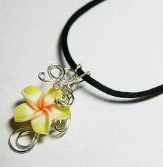 Perfume Pendant - PREMADE - Aromatherapy Wire Wrapped Yellow Polymer Clay Tropical Plumeria Flower by Matthew Nix $20.00