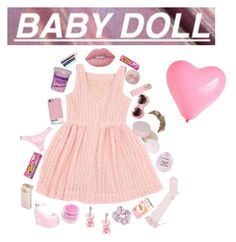 """""""candy;pink lips;Babydoll;Dolly"""" by nymphet-lolita on Polyvore featuring American Apparel, Medusa's Makeup, Sugarbaby, Forever 21, My Little Day, Cotton Candy, ZeroUV, Lime Crime, MAC Cosmetics and Her Curious Nature"""