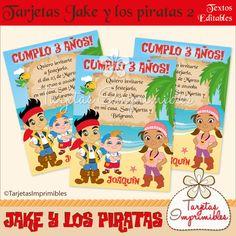 Tarjetas de invitación Jake y los piratas 2