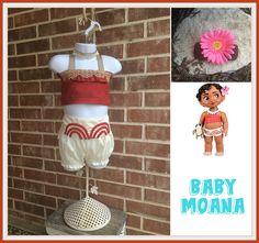 Baby Moana costume Baby Moana bloomer and top Baby Moana
