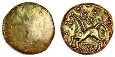 Cantiaci (c.50-30 BC), gold Stater, late Weald net, blank, rev. horse left annulet on chest, ringed-pellets above, pellet above and below tail, net below (Mack 84; Rudd ABC 180; S.169; V.150), well centred, good style, extremely fine