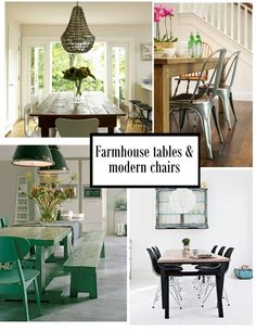 farmhouse dining table modern chairs | Found on pineconeplace.blogspot.com