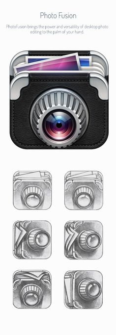 This is a moderately 3D/realistic design, and it reminds me of the early Instagram app icon design. It's cool that the designer has combined an accordion folder with a camera.