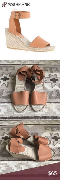 "Espadrille Sandals with Leather Straps Like new espadrilles in excellent condition. Made by Picon in Spain, which is the same company that makes the exact same show model for J.Crew. Heel is 3.5"". The label says Picon, not J.Crew. J. Crew Shoes Espadrilles"