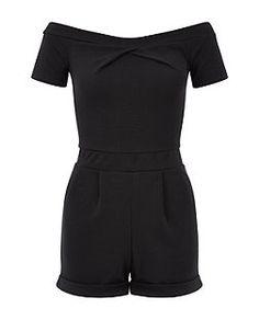 Black Bardot Twist Neck Playsuit | New Look